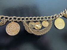 Vintage Gold Tone Tribal Ethnic Belly Dancing Coin Belt / Necklace