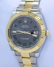 Rolex Datejust II 116333 41mm 18K Yellow Gold /SS Roman Grey Dial PAPERS 2016!