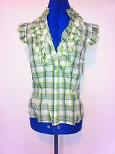 Nwt/SizeL/Green/Yellow/whiteCheck/Frill/Silver/V-Neck/Top/Shirt/casual/Autumn