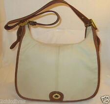 Coach Vintage Tan Leather & Beige Twill Crescent Hobo Shoulder Bag - Refurbished
