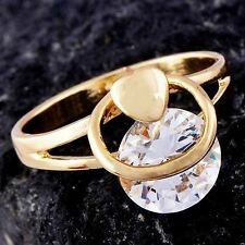 Amazing Knuckle Swarovski Crystal 9K Yellow Gold Filled Ladies Ring Size 5 Band