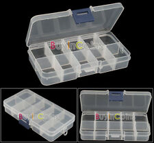1 Empty Storage Case Box 10 Cells for Nail Art Tips Gems Mini Crafts Small Beads