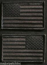USA AMERICAN FLAG REVERSE LEFT RIGHT SHOULDER COVERT BLACK VELCRO®  2 PATCH SET