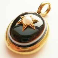 ANTIQUE VICTORIAN 18CT GOLD LOCKET BULLS EYE AGATE MOURNING OPENS QUALITY C.1880