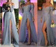 Hot Fashion Long Sleeves Grey Slit Prom Dresses Off Shoulder Party Evening Gowns