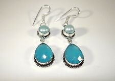 "Aqua Blue Chalcedony Teardrop River Pearl .925 Silver Earrings Hook 2.5"" 60mm"