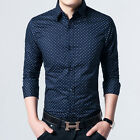 New Men's Luxury Formal Casual Slim Fit Stylish Dress Shirts Red Navy C_6266