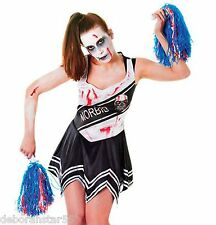 Womens Zombie Cheerleader Dead School Girl Halloween Fancy Dress Costume 10-14
