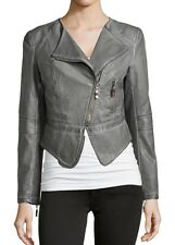 Raison D'etre Womens Leather Motorcycle Jacket Gray Neiman Marcus XS WORN TWICE