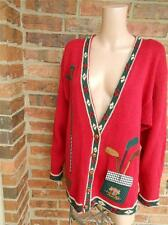 SHARON YOUNG Sportswear Sweater Size L Vintage Golf Cardigan Top Pocket Women