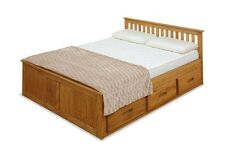 4ft Small double Captains Storage Solid Pine Wooden Bed Bedframe - Waxed Pine