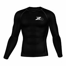 Mens Compression Top Skin fit Rash Guard base layer shirt thermal Gym wear New