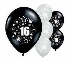 "8 x 16TH BIRTHDAY BLACK AND SILVER 11"" HELIUM OR AIRFILL BALLOONS (PA)"
