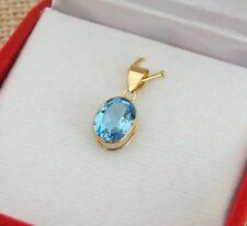 18ct 18k Giallo Oro Autentico Swiss Blu Topazio Ciondolo 1.8ct