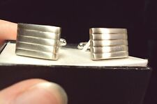 new sleek pin striped textured rectangle silver tone cuff links swank classic