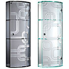 Wall Mounted Curved Glass Bathroom Cabinet Storage Shelf Cupboard Unit Display