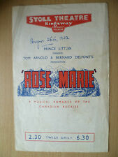 Stoll Theatre programme- ROSE MARIE by Otto Harbach & Oscar Hammerstein