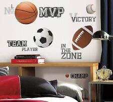 ALL STAR SPORTS 24 BiG Wall Stickers Baseball Soccer Ball Room Decor Decals RM2