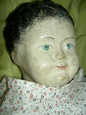 """Lovely large 28"""", early FRENCH antique papier mache doll with brush mark curls"""