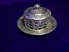 7 CM/BLUE GLASS LINED/ART DECO/SILVER PLATED POT/COVER ON 11 CM LINER.