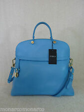 NWT FURLA Atlantic Blue Saffiano Leather Piper M Bugatti Bag $498 Made in Italy
