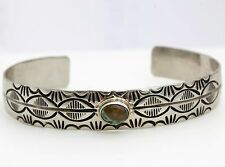 Antique Navajo Pawn Native Sterling .925 Silver Carico Lake Turquoise Bracelet!