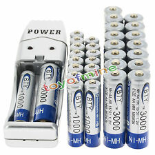 16 AA +16 AAA 1000mAh 3000mAh 1.2V NI-MH BTY Rechargeable Battery + USB Charger