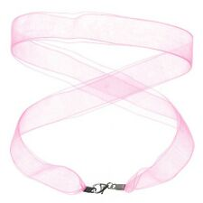 Ribbon Necklace With 925 Sterling Silver Lobster Clasp Pink 17 Inch (D90/5)
