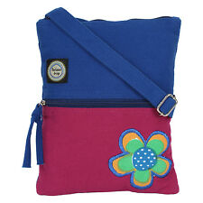 Anekaant Whimsical Solid Floral Women Canvas Blue and Pink Sling bag
