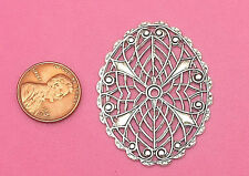 ANTIQUE SILVER PLATED BRASS FILIGREE OVAL DESIGN - 1 PC