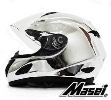 Masei 802 Chrome Silver Full Face Bike Harley Motorcycle Chopper Helmet E131
