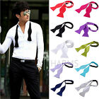 Fashion Adjustable Mens Solid Color Plain Satin Formal Self Bow Tie Necktie Ties