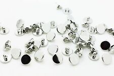 Silver Shank Button Flat Round Shiny Simple Blouse Vintage Style 11mm 20pcs