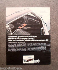 O799 - Advertising Pubblicità -1969- OPEL COMMODORE GS