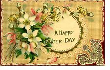 Pretty Happy Easter Holiday-Lace Design-Flowers Pussy Willow-Vintage Postcard