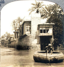 Keystone Stereoview a Boat & Homes along the Tigris, Bagdad from 1930's T600 Set