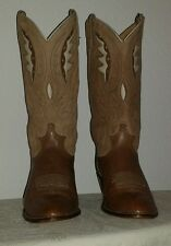 Vtg.Acme women's Brown/Beige leather Inlay cowboy/western boots Size 8 1/2 C USA