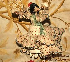 ANTIQUE 1920's VINTAGE FLAMENCO SPANISH DANCER FIGURINE CLOTH COLLECTIBLE DOLL