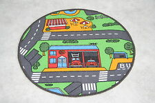 Children's Road Map Rug Racing Cars Roundabout Rug Large 71cm Circle Cars Rug