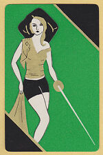 1 SINGLE VINTAGE SWAP PLAYING CARD DECO PIRATE LADY ID 'FENCING GIRL WS-8-23'