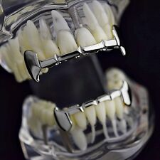 Full Fang Grillz Set Slim Grills Silver Tone Dracula Half Teeth Vampire Fangs