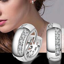 Women Vogue Unique Party Zircon Silver Plated Ear Studs Hoop Huggie Earrings