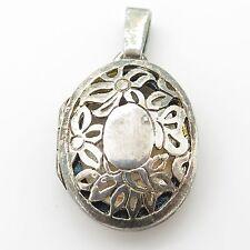 SU Vintage Sterling Silver Carved Floral Ornament Oval Locket Pendant 4.8g