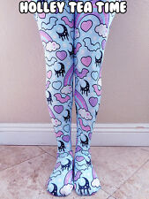 Rainbow Spooky Bats Tights Mint: Pastel Goth, Creepy Cute, Moons, Stars Size XL