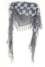 LADIES AEGEAN BLUE SCARF WITH FLORAL DESIGN POP OUT LACE FRILL SCARF(MS39)