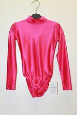 Red Spandex Gymnastic Long Sleeve High Collar Leotard Girls 5-6 years Size XS