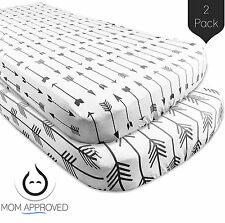 Kaydee Baby Fitted Crib Sheets - 2 Pack Modern (Grey Arrows) - 100% Soft Cotton