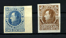 COLOMBIA BOLIVAR Sc 11a w/border + Sc 16 Brown Imperforate