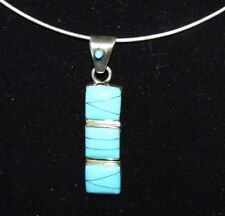 """Turquoise 18""""Neck Wire Flexible .925 Sterling Silver Pendant Inlaid"""