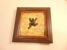Modern framed decorative tile with high relief frog; Studio label on reverse